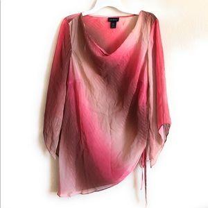 Lane Bryant Sheer Top Long sleeves 14/16 Red